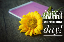 Inspirational Motivational Quote - Have A Beautiful And Productive Day. With Flat Lay Concept Of Fresh Smiling Sunflower Blossom And A Spiral Book On Rustic Wooden Table Backgroud.