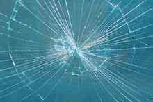 Broken Glass Pane. Smashed Blu...