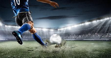 football soccer player kicking in action in blue team euro cup, Africa nation...