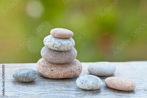 Well Balanced Pebble Stack Across Green - 296492010