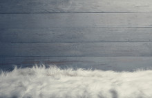 White Fur Floor Wooden Wall Background