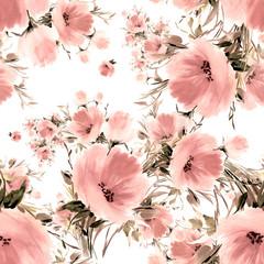 Fototapeta Inspiracje na wiosnę Seamless watercolor hand-drawn pattern on paper