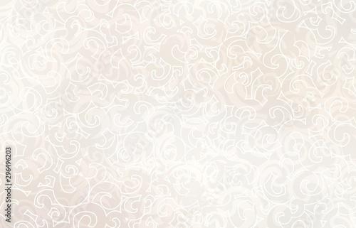 Light beige curls plexus pattern. Pastel twirls background. Subtle ornament texture. Creamy exquisite template. - 296496203