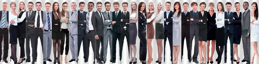 Fototapeta panoramic collage of groups of successful employees.