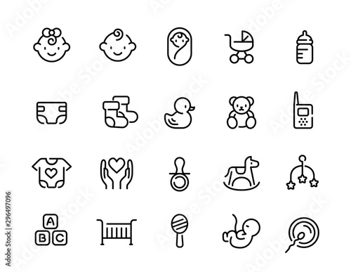 Minimal cute baby line icon set Fototapet