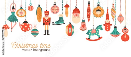 Fotomural Christmas time flat banner vector template