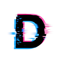 Letter D Distorted Neon Glitch...
