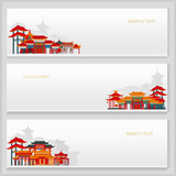 Fototapeta Sypialnia - Three vector postcards with chinese traditional buildings and place for text.