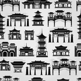 Fototapeta Sypialnia - Seamless vector pattern with black and white Chinese traditional buildings on a light gray background.