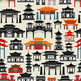 Fototapeta Sypialnia - Seamless vector pattern with Chinese temples, gates and buildings on a dark green background