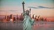 Statue of Liberty on a Vintage and warm scene with the city of Manhattan and the financial district behind. 4K