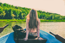 Girl Sailing In A Boat On The ...