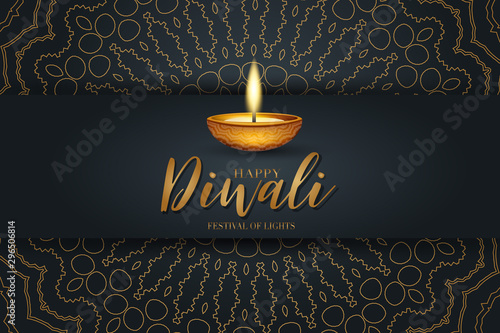 Obraz Happy Diwali festival of lights poster design. Indian traditional holiday background Diya oil lamp and golden text typography on black backdrop with gold hindu ornament. Gorgeous celebration banner.  - fototapety do salonu