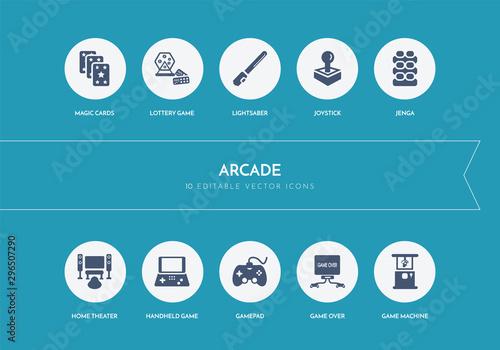 10 arcade concept blue icons Tablou Canvas