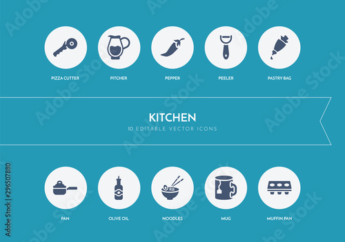 10 kitchen concept blue icons