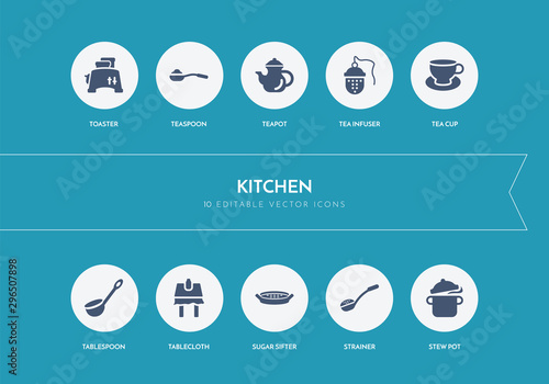 Vászonkép  10 kitchen concept blue icons