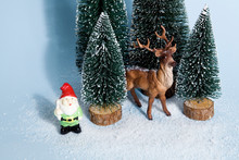 Snowy Forest Firs Gnome And Reindeer Blue