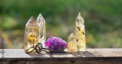 Photo quartz and amethyst stones mineral