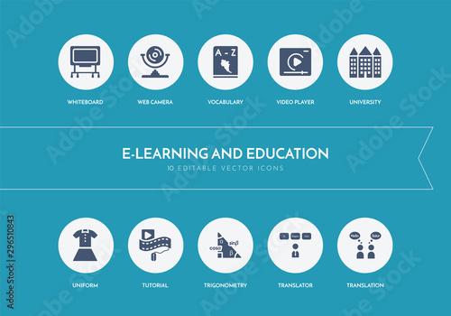 Obraz na plátně  10 e-learning and education concept blue icons