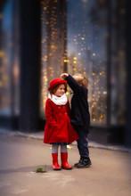 Funny Couple Of Children Hug, ...