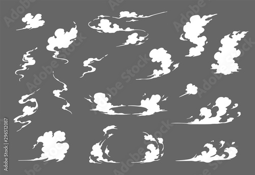 Obraz Smoke illustration set  for special effects template. Steam clouds, mist, fume, fog, dust, or  vapor  2D VFX Clipart element for animation - fototapety do salonu