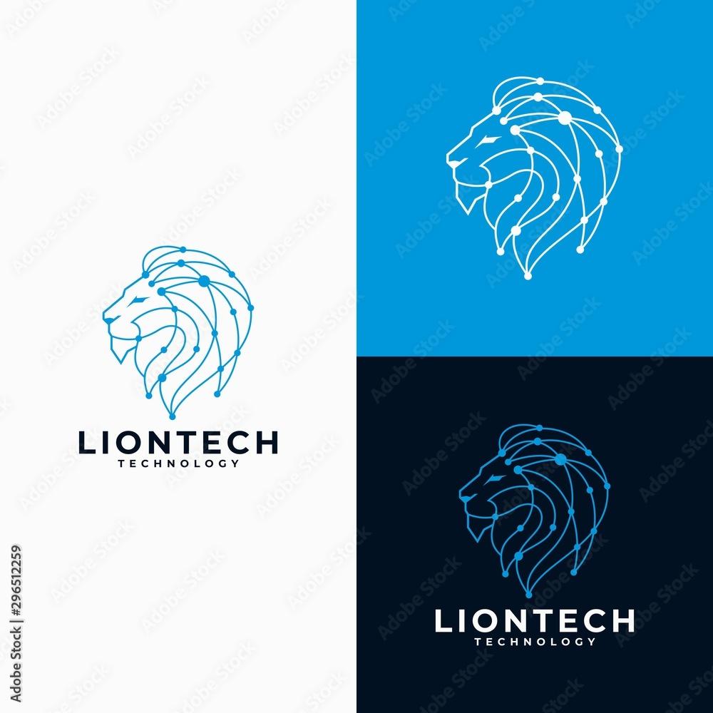 Fototapeta Lion Head Technology Logo Design Vector Illustration