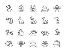 Minimal Thin Line Pet Icon Set...