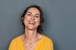 Leinwandbild Motiv Cheerful mature woman smiling