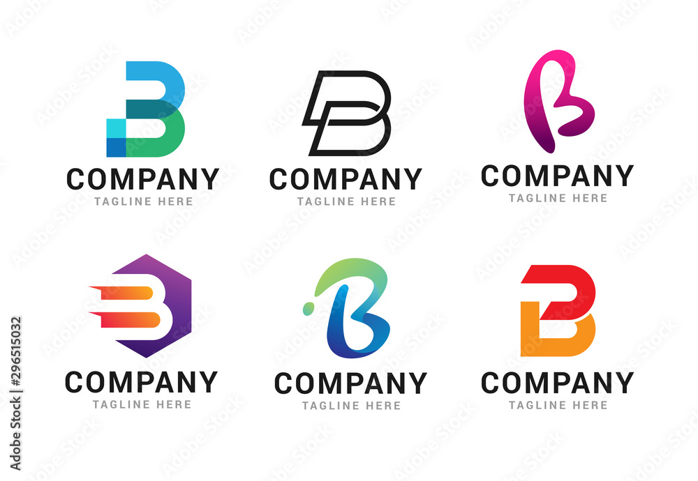 Fototapety, obrazy: Set of letter B logo icons design template elements. Collection of vector sign symbol