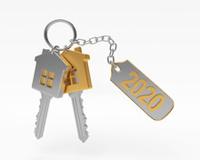 Golden And Silver Keys In The Form Of A House And Text 2020 On Label Isolated On A White Background. 3D Illustration