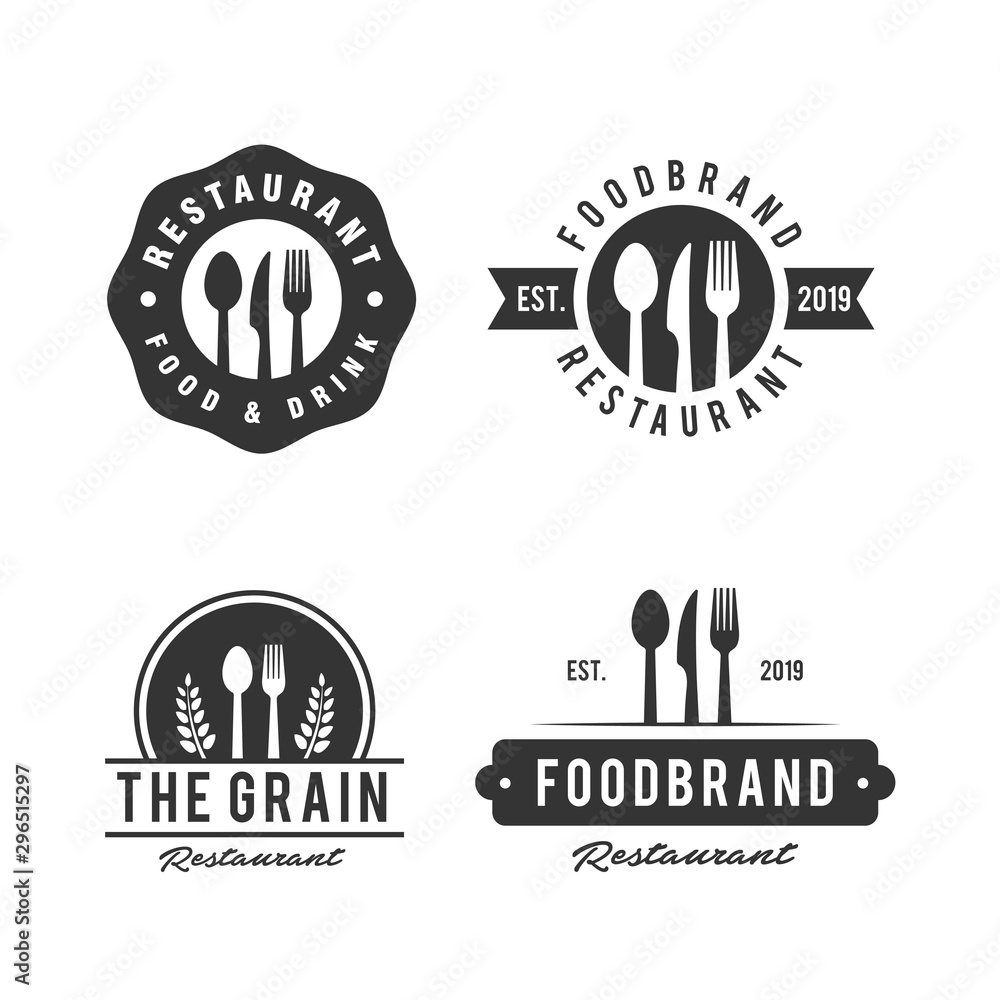 Fototapety, obrazy: Set of Restaurant Shop Design Element in Vintage Style for Logotype, Label, Badge and other design. Fork and spoon Silhouettes retro vector
