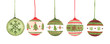 canvas print picture - Colorful christmas balls set. Isolated on white background. Watercolor Christmas card for invitations, greetings, holiday christmas toy for fir tree.