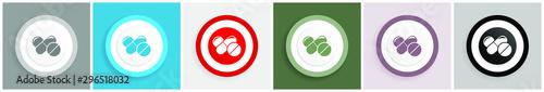 Fotografia  Medicine icon set, colorful flat design vector illustrations in 6 options for we