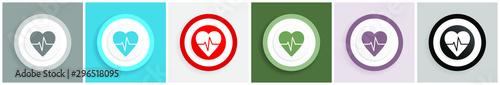 Fotografia  Pulse icon set, colorful flat design vector illustrations in 6 options for web d
