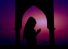 Silhouette Of Women Muslim Pra...