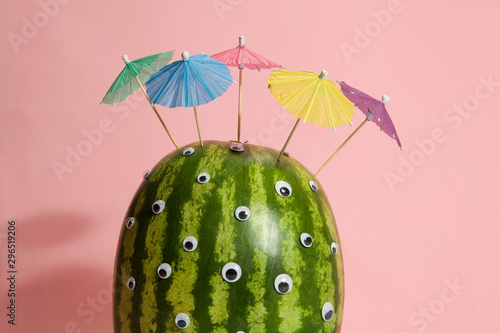 watermelon umbrella hair cocktail Wallpaper Mural
