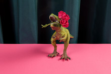 Curtain Dinosaure Eating Red Roses Flower
