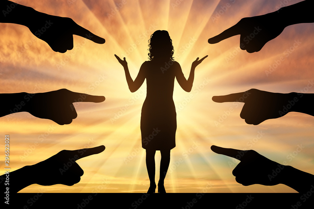Fototapety, obrazy: Silhouette of hands show at a woman standing on a sunset background