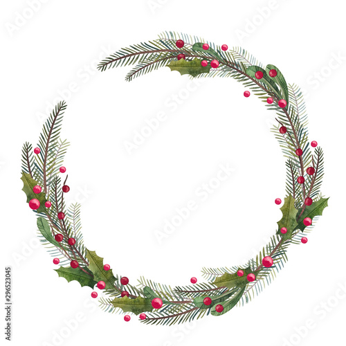 Stampa su Tela  Round frame with Christmas tree and decor elements