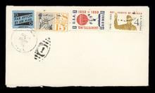 Briefumschlag Envelope US Retro Vintage Airmail Luftpost Briefmarken Stamps Amerika Heißluftballon Ballon Freiheitsstatue Statue Of Liberty Pfadfinder Boy Scouts Beige