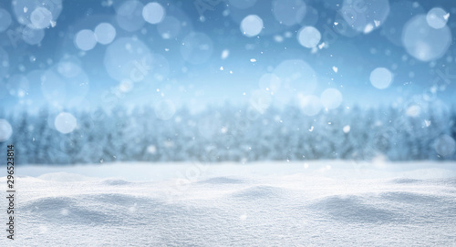 Empty panoramic winter background with copy space Canvas Print