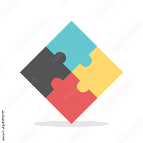 Four multicolor puzzles assembled Tablou Canvas