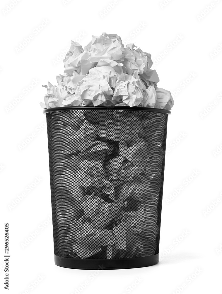 Fototapeta paper ball trash bin rubbish garbage wastepaper