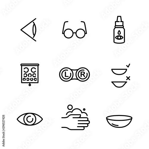 Fotografía  Optometry. Ophthalmology. Contact Lenses - Vector Icon Set