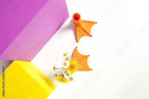 Photo  geometric coloured cubes duck legs and flowers