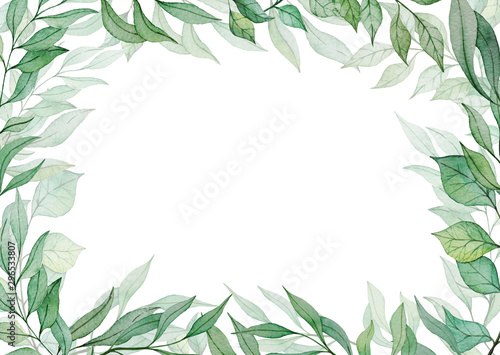 Card template with hand drawn watercolor green leaves Canvas Print