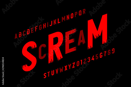 Scream font in Halloween style, alphabet letters and numbers Canvas Print