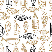 Cute Gold And Black Line  Fish. Vector Seamless Pattern.