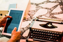 Hands Are Working With An Outdoor Typewriter.