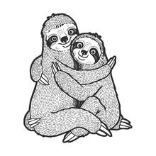 Sloth Love Couple Hug Sketch E...